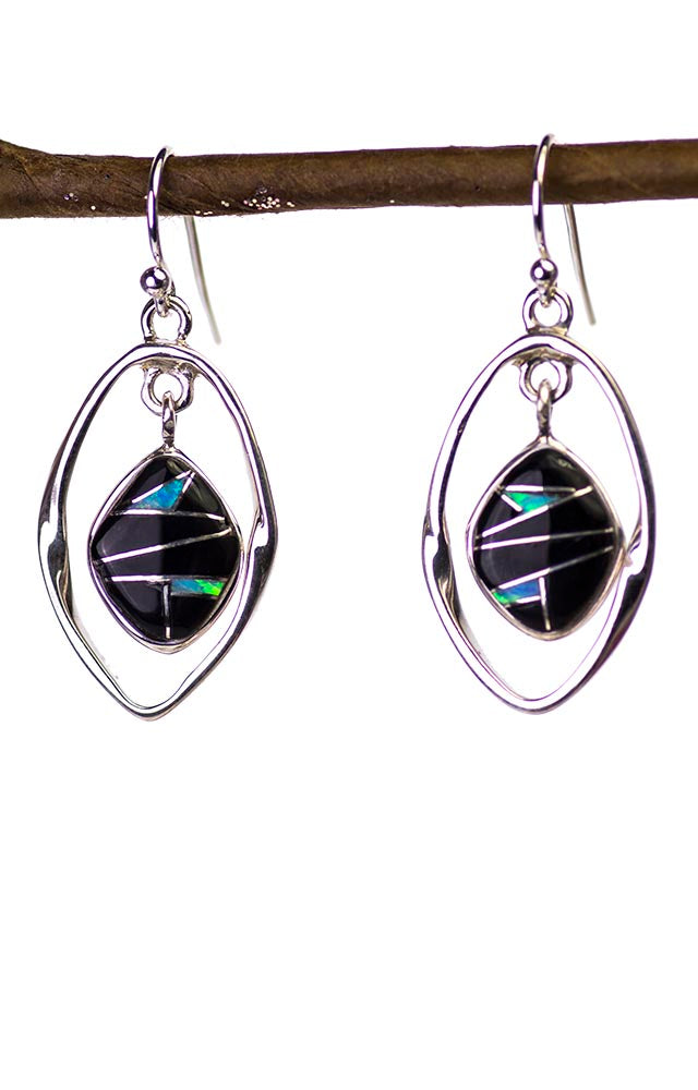 Hand Inlay Earrings in Onyx, Lab Opal and Sterling Silver