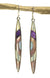 Inlay Sugilite, Lab Opal and Mother of Pearl Long Earrings Sterling Silver