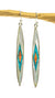 Inlay Mother of Pearl and Turquoise Long Earrings Sterling Silver