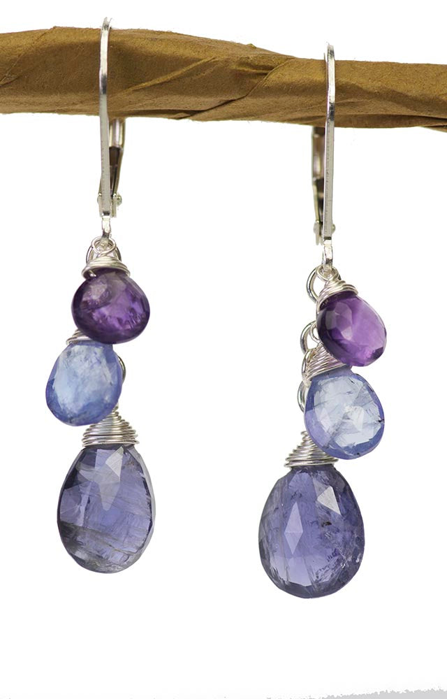 Iolite, Amethyst and Tanzanite Purple Drops Kristin Ford Earrings