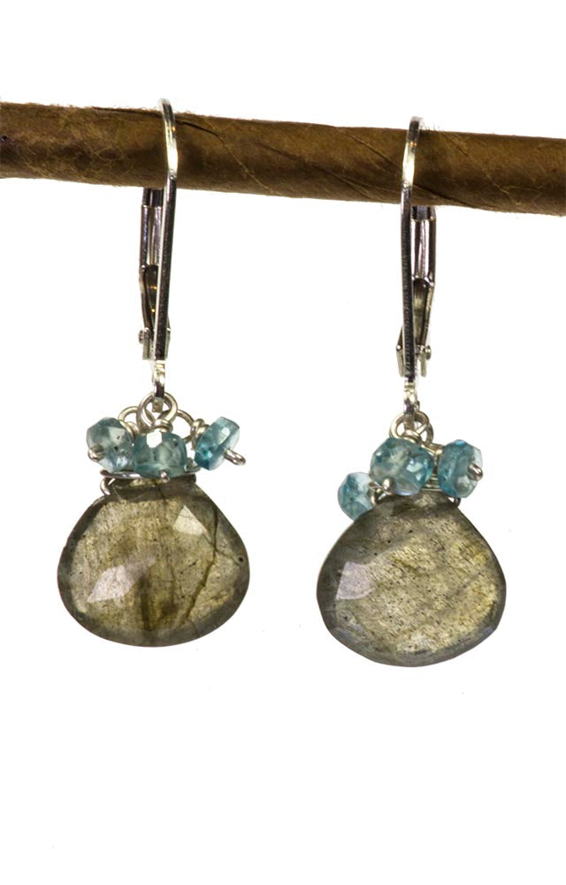 Labradorite and Blue Zircon Handmade Gemstone Earrings by Kristin Ford