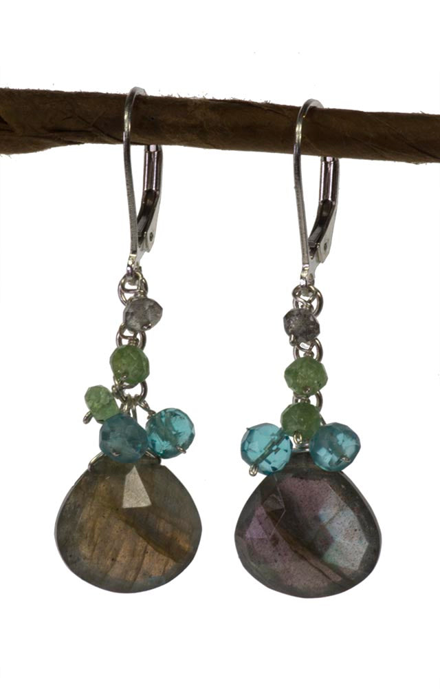 Labradorite, Green Garnet and Apatite Handmade Gemstone Earrings by Kristin Ford