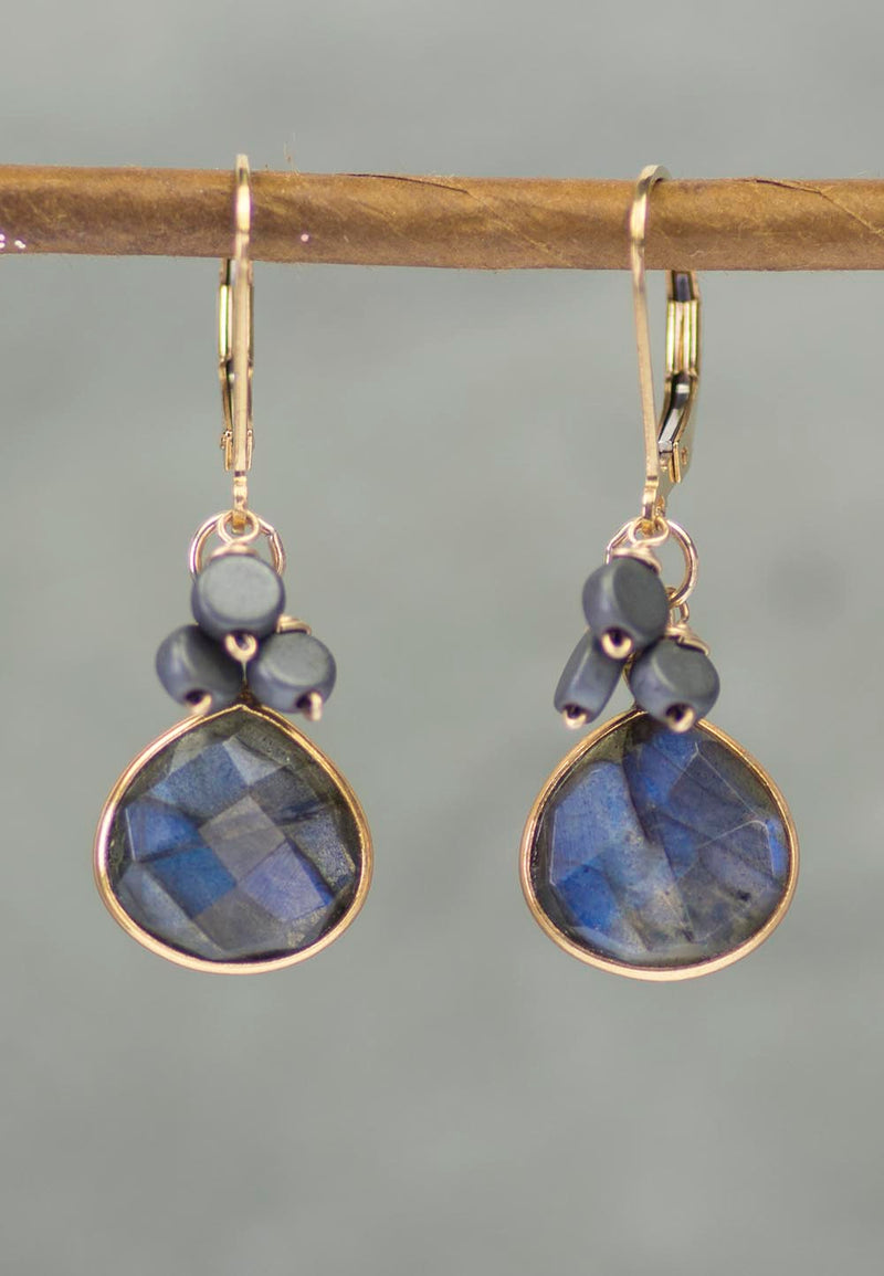 Manifestation Labradorite and Hematite Gold Kristin Ford Earrings