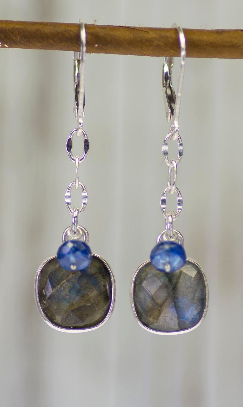 Labradorite and Kyanite Earrings by Kristin Ford