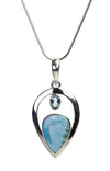 Blue Larimar and Topaz Sterling Silver Pendant