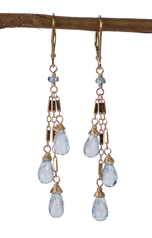 Long Blue Topaz Kristin Ford Earrings