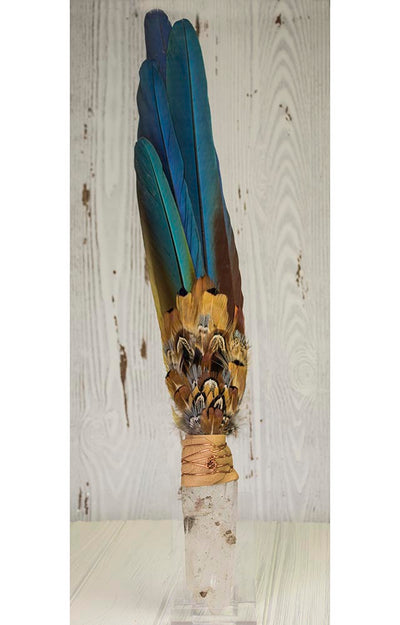 Tabular Quartz Macaw Tail Feather Lakota Sioux Medicine Prayer Fan