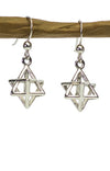 Sterling Silver Merkaba Earrings Three dimensional 3D Merkabah Earrings
