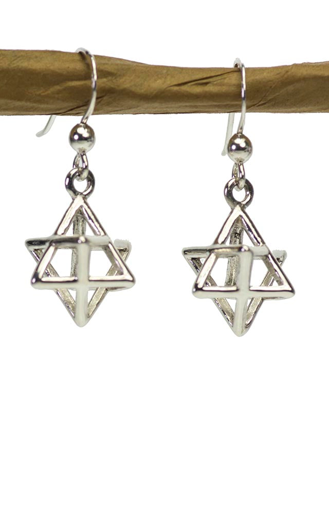 Sterling Silver Merkaba Earrings in 3D