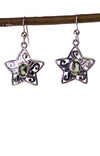 Sterling SIlver Moldavite Star Earrings Real Moldavite