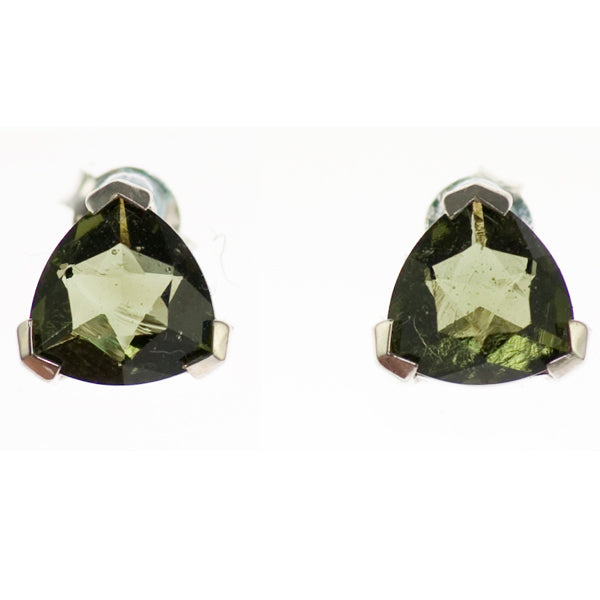 Simple Moldavite Triangle Earrings