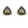 Moldavite Triangle Earrings with Gold Accents