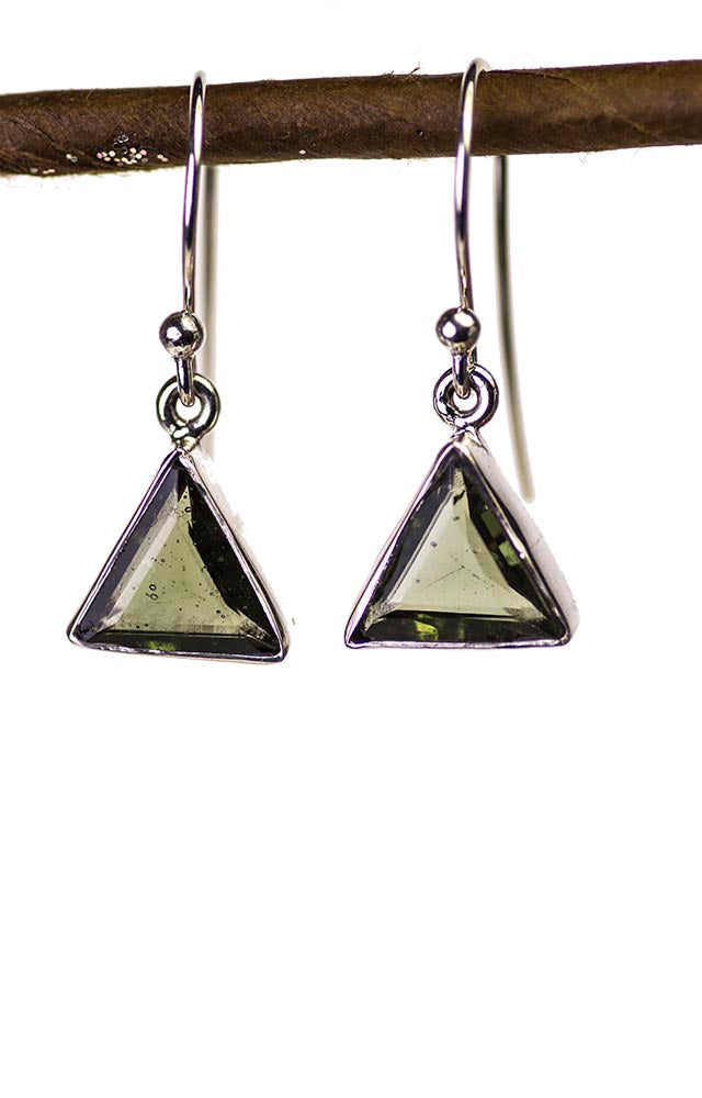 Simple Moldavite Triangle Dangle Earrings