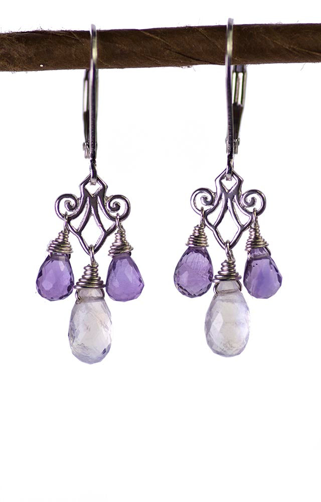Moonstone and Amethyst Chandelier Kristin Ford Earrings
