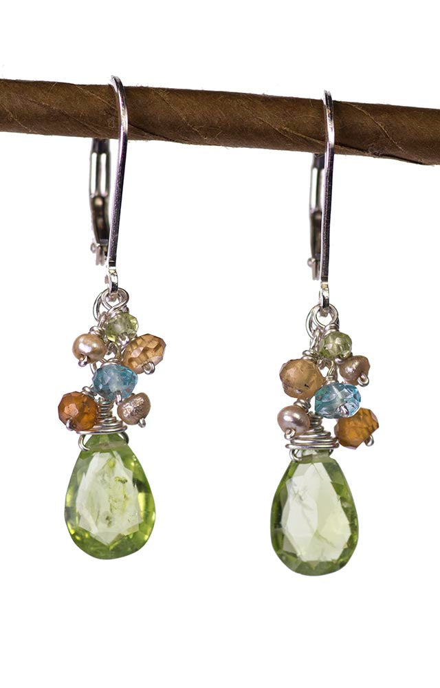Peridot, Ctrine and Prehnite Handmade Gemstone Earrings by Kristin Ford