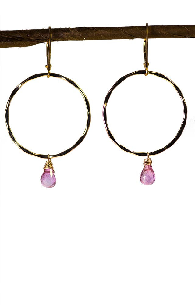 Gold Hoops with Pink Topaz Earrings