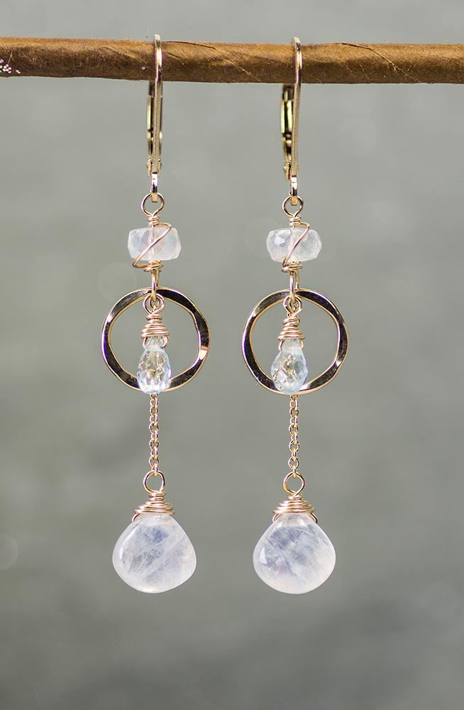 Gold Moonstone and Blue Topaz Handmade Gemstone Earrings by Kristin Ford