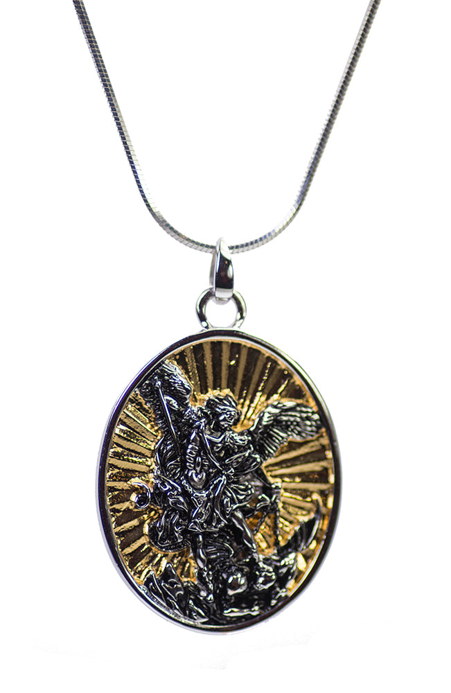 Large St. Michael the Archangel Pendant in Sterling Silver and Gold