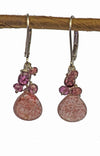 Strawberry Quartz and Garnet Handmade Gemstone Earrings by Kristin Ford