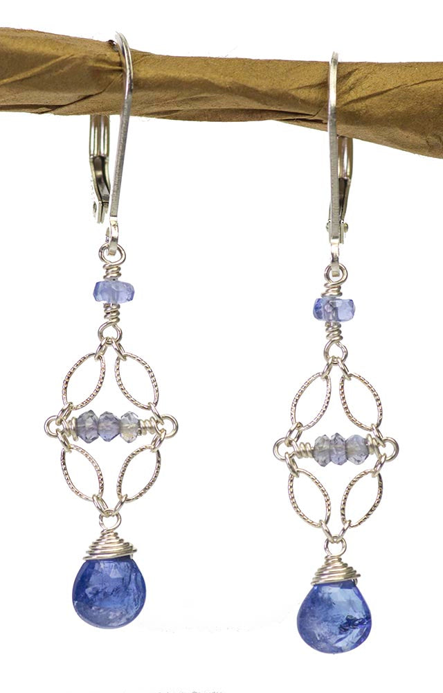 Tanzanite Iolite Silver Handmade USA Kristin Ford Sterling Silver Earrings