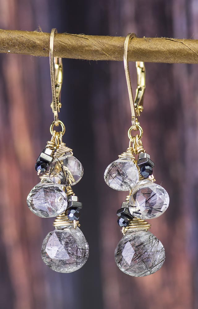 Tourmalated Quartz Gold Kristin Ford Earrings