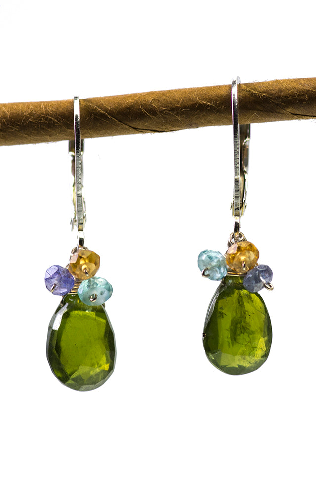 Vesuvianite, Citrine, Apatite and Tanzanite Handmade Gemstone Earrings by Kristin Ford