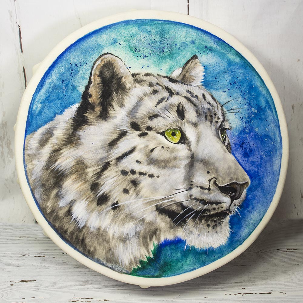 Hand Made White Tiger Spirit Shaman Drum 15 Inch
