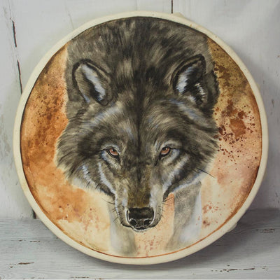 Handmade Wolf Totem Animal Spirit Drum 15 Inch