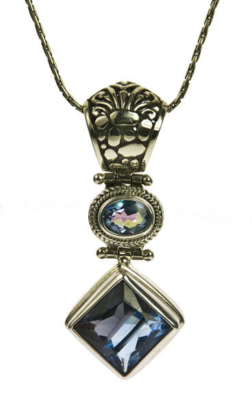 Sterling Silver Blue Quartz and Lucky Stone Pendant | Whisperingtree.net