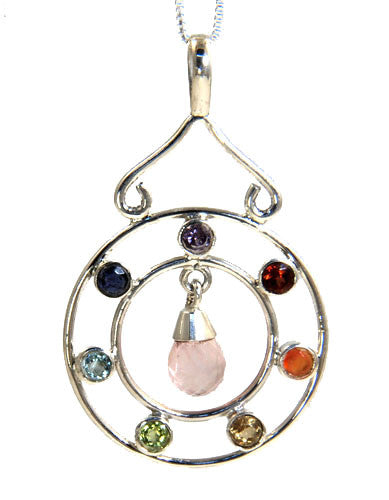 Chakra Pendant with Rose Quartz Drop