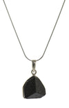 Black Tourmaline Point Pendant in Sterling Silver