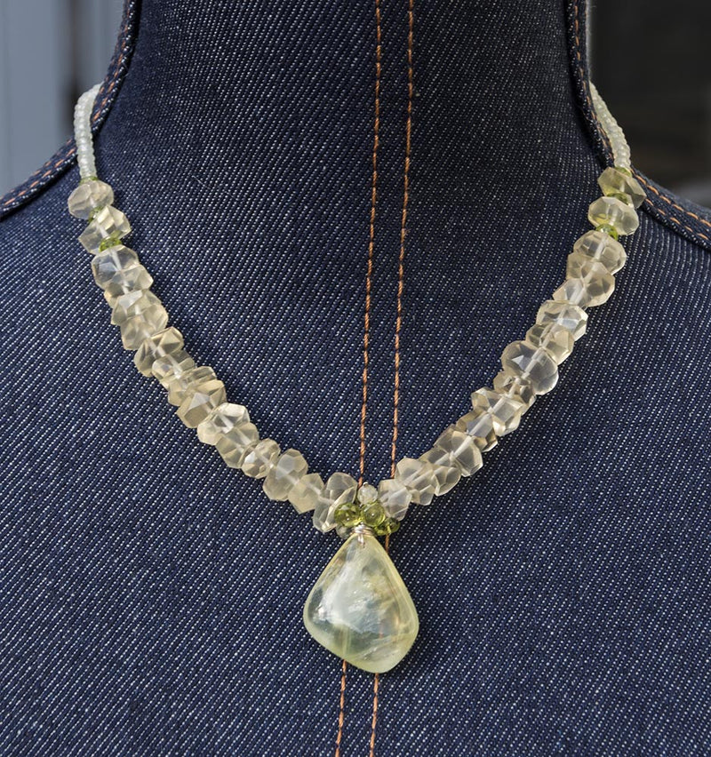 Kristin Ford Prehnite, Lemon Quartz and Peridot Evolution Necklace  - One of a Kind