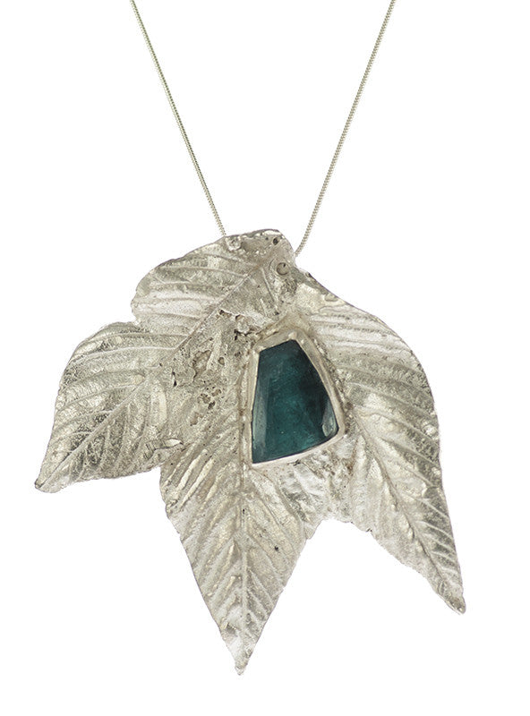Blue Tourmaline on Cast Leaves Art Jewelry Pendant