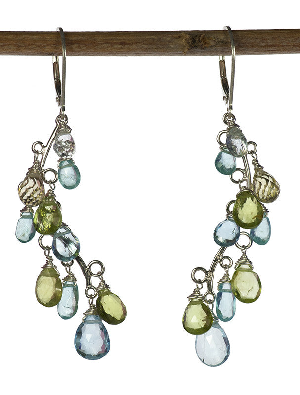 Handmade Necklace and Earrings Set Sterling Silver Vine with Topaz, Apatite and Peridot