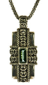 Green Quartz Sterling Silver Cross Rectangular Pendant | Whisperingtree.net