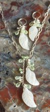 Handmade Jewelry Set Mother of Pearl Shell Leaves with Green Garnet, Prehnite and Pearl Necklace and Earring Set Handmade in USA | Whisperingtree.net