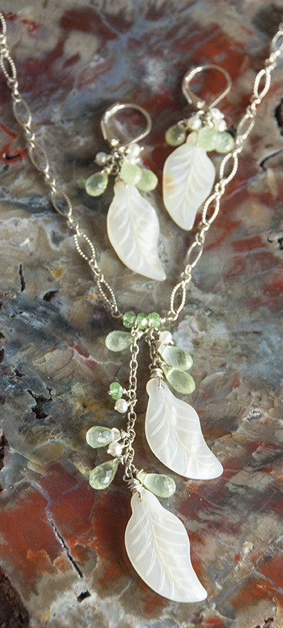 Mother of Pearl Shell Leaves with Green Garnet Earring and Necklace Set