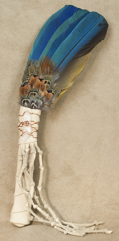 Lakota Sioux Medicine Prayer Fan with Macaw Feathers Sacred Prayer Fan | Whisperingtree.net