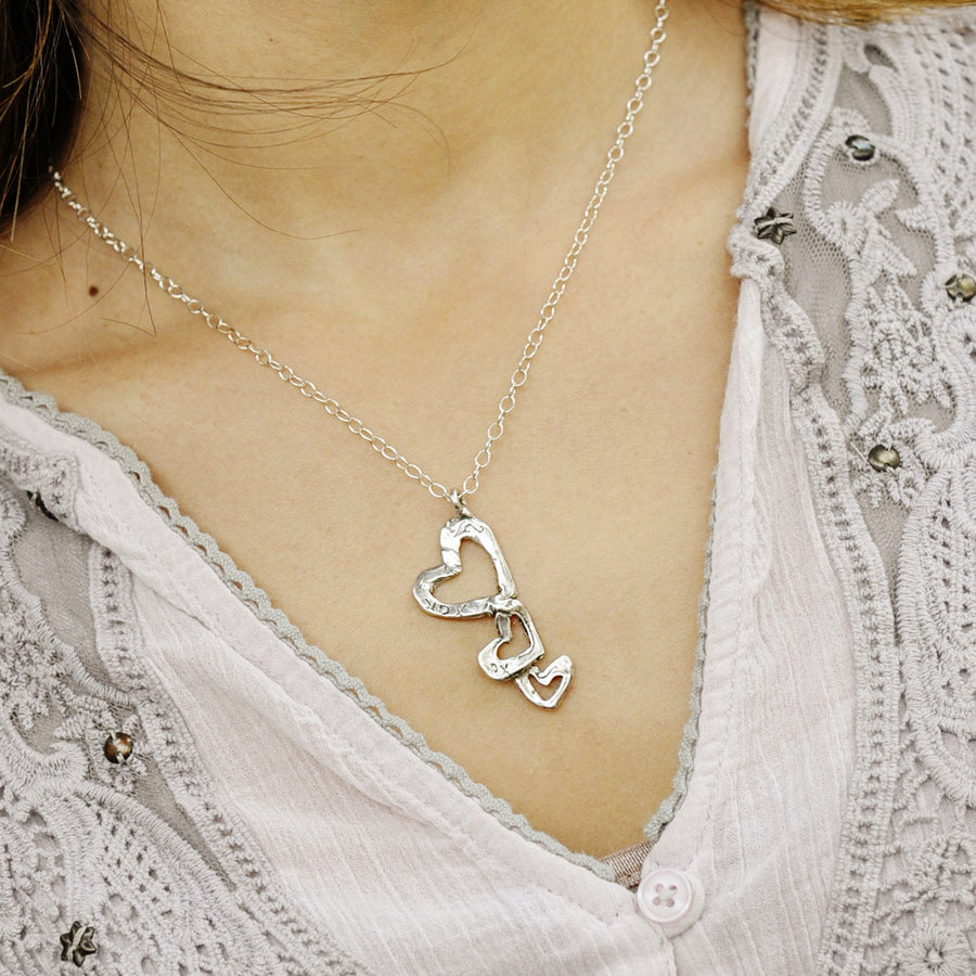 Triple Heart XOXO Necklace