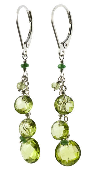 Peridot and Tsavorite Garnet Earrings