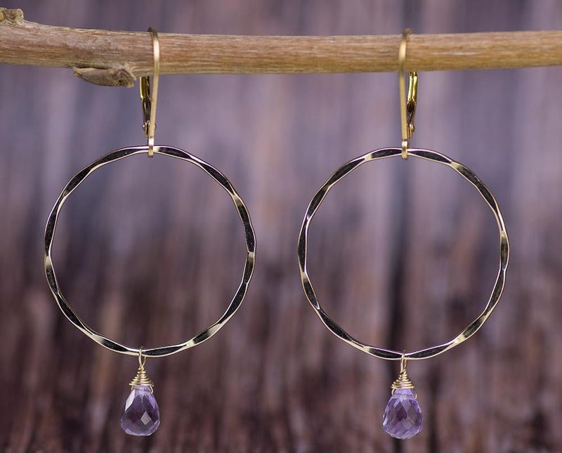 Gold Hoops with Lavender Amethyst Earrings