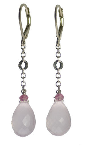 Kristin Ford Rose Quartz Drop Earrings  | Whisperingtree.net