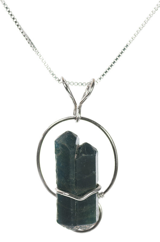 Blue Apatite Handmade Pendant Necklace in Sterling Silver | Whisperingtree.net