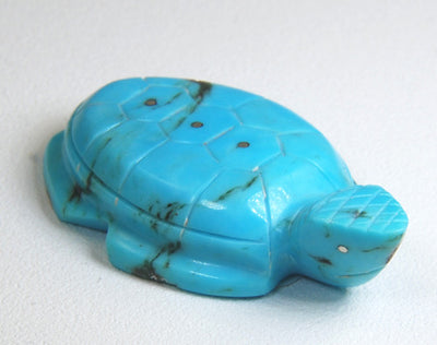 Turtle Zuni Fetish by Kenny Chavez - Turquoise with Silver Inlay