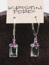 Green Prasiolite Pink Tourmaline Silver Handmade USA Kristin Ford Sterling Silver Earrings