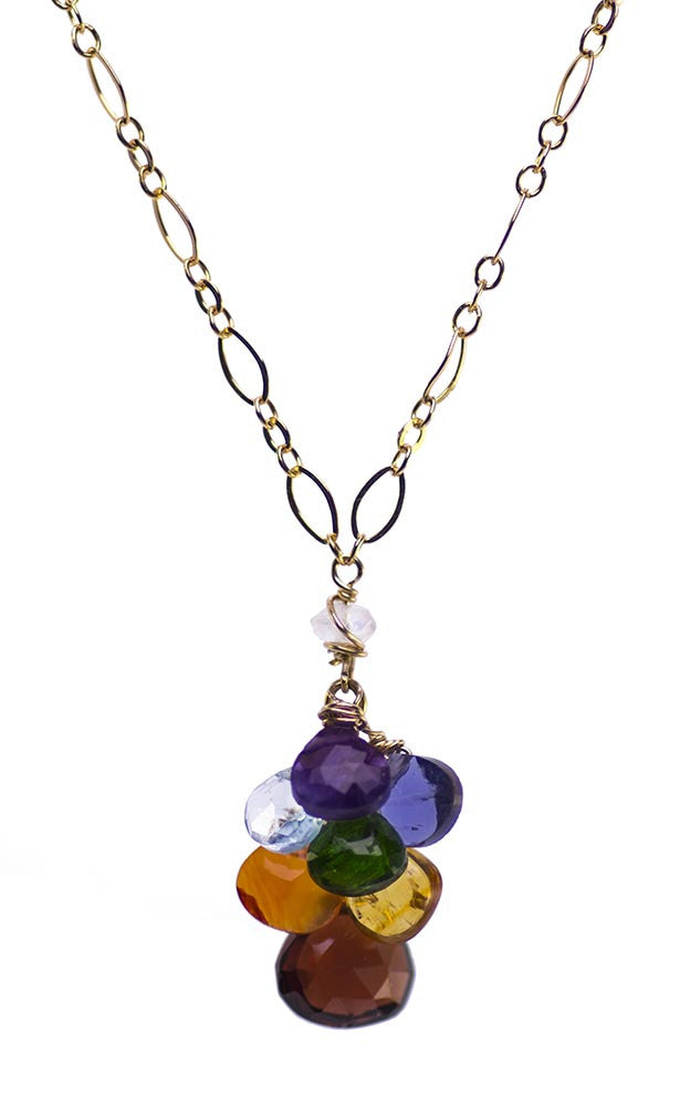 Kristin Ford Handmade CHakra Gemstone Necklace Gold Made in USA America
