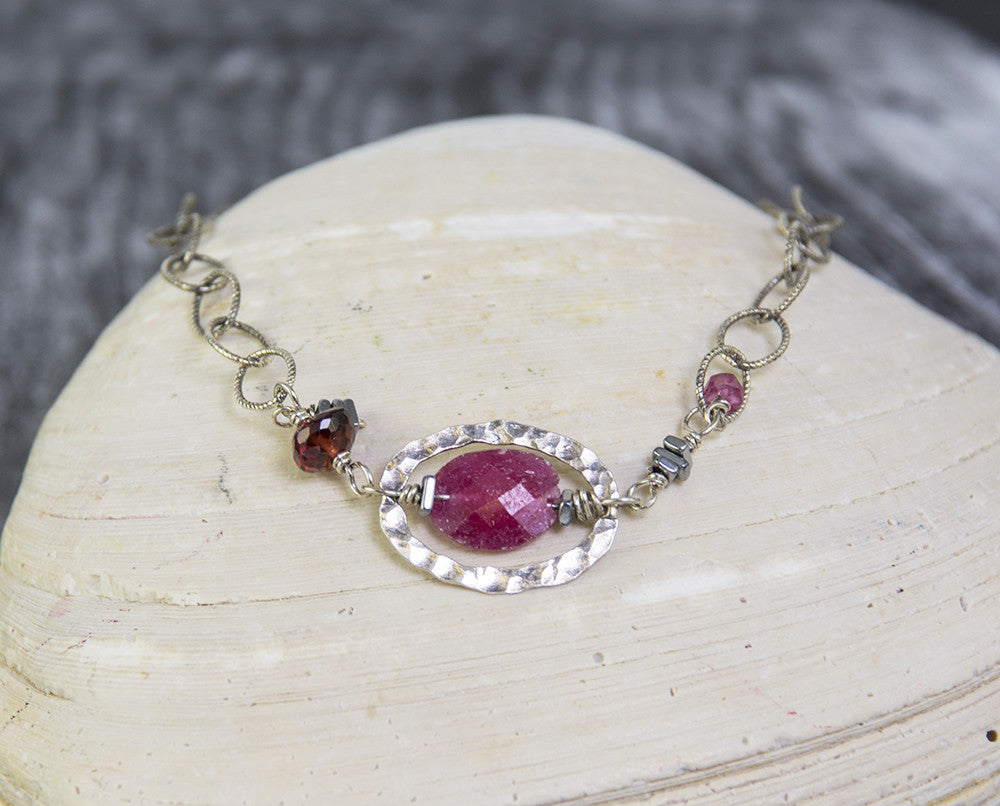 Root Chakra Ruby and Sterling Silver Bracelet by Kristin Ford