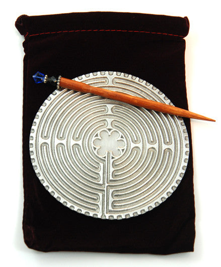 Pewter Chartres Labyrinth with Wooden Stylus - 4.5 Inch