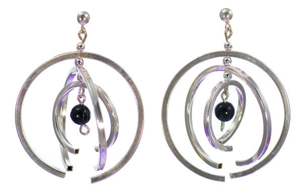 Black Onyx Mobile Art Jewelry Modern Sterling Silver Earrings | Whisperingtree.net