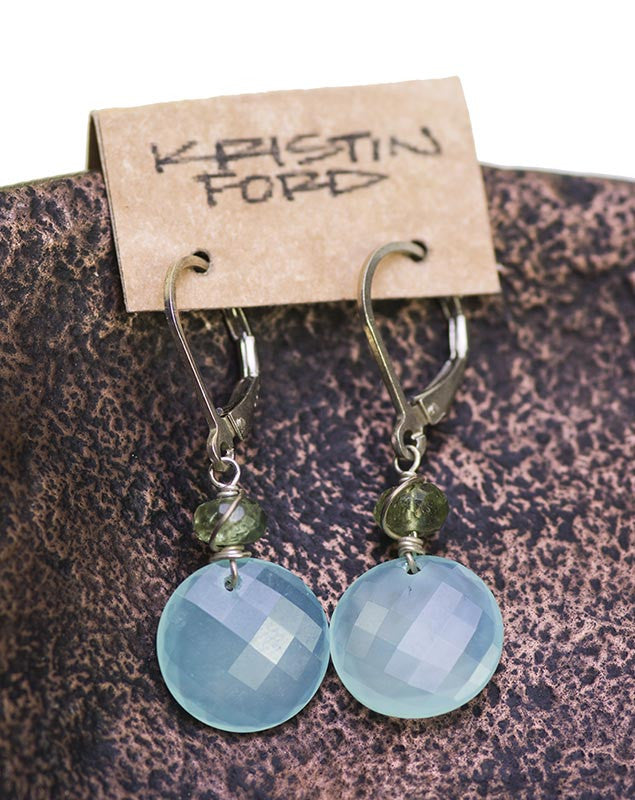 Blue Chalcedony Earrings by Kristin Ford